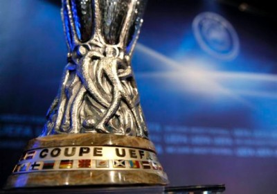 The Europa League trophy is shown during the draw for the Europa League 2009/10 third qualifying round at the UEFA headquarters in Nyon, Switzerland, Friday, July 17, 2009.(KEYSTONE/Martial Trezzini)